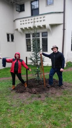 Melissa and Brian Funaro chose to plant a tree to honor their 10- and 20-year milestones at Yale, respectively.