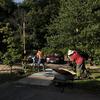 Volunteers digging holes by pathway