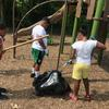 Kids cleaning up a playground