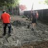 Spreading stone dust