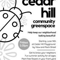 Flyer for Cedar Hill Community Greenspace (English version)