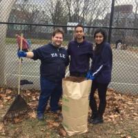 Volunteers rake leaves at Scantlebury Park