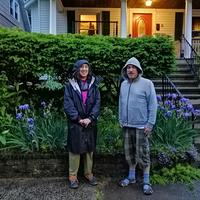 Susan and Chris in front of Chris's house on Osborne Avenue.