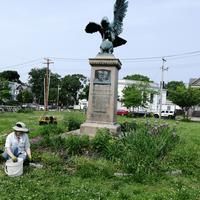 Robin weeding the circle/monument garden.