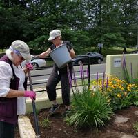 Spreading mulch at the Memorial Garden across from Beecher Park.