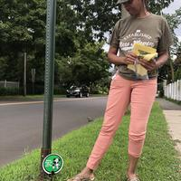 Volunteer putting out signs